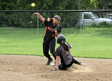 TIMES PHOTO: MILES VANCE - Beaverton's Anika Matsumoto tries to turn a double play during her team's 2-0 win over Southridge at Southridge High School on Thursday.