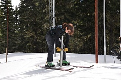 COURTESY PHOTO: NATURAL RESOURCES CONSERVATION SERVICE - Natural Resources Conservation Service hydrologists Julie Koeberle measures the snowpack Thursday, April 28, on Mount Hood. The mountain has about 70 percent of its snowpack for this time of year.