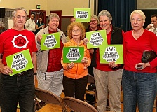 DAVID F. ASHTON - Some of the two-dozen supporters from the Friends of Sellwood Community Center warmed up for their presentations before the only City of Portland Budget Hearing east of the Willamette River, at which four City Commissioners - including the citys Mayor - were present.