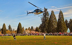 DAVID F. ASHTON - A helicopter swoops in over Brentwood Park so that volunteers aboard can shower the area with orange plastic Easter Eggs.