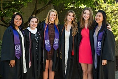 COURTESY PHOTO: UNIVERSITY OF PORTLAND - From left, University of Portland students receiving 2016 Fulbright grants to study and teach abroad include Josefina Duran-Martinez, Emily Dovel, Caroline Harpster, Kristen Jakstis, Katherine Lord and Erin Nishijima. Not pictured is 2013 graduate Jonathan Squires, who also earned a Fulbright grant.