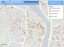 COURTESY PHOTO: CITY OF PORTLAND - A screenshot shows the location of unreinforced masonry buildings in downtown Portland. A new database is available to locate the buildings that the city fears could be heavily damaged in an earthquake.