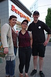 TRIBUNE PHOTO: JOSEPH GALLIVAN - Eli Fishel (age 18), Olivia Faulconer (24) and Jordan Vaandering (26) joined the Burgerville Workers Union to lobby for more wages, benefits and control of their schedule. They work at the Vancouver Plaza shop in Washington, one of five where the union is public.