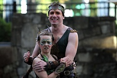 TIMES PHOTO: MILES VANCE - Oberon (Murren Kennedy, right) and Puck (Catherine Olson) interact in Experience Theatre Project's production of 'A Midsummer Night's Dream' at The Round in Beaverton on Friday.