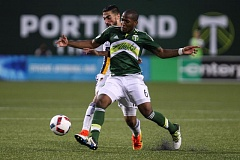 TRIBUNE PHOTO: DAVID BLAIR - Darlington Nagbe sends a pass into the box for the Portland Timbers in their 1-0 loss Wednesday night at home to the Los Angeles Galaxy.