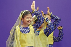 TIMES PHOTO: JONATHAN HOUSE - Students of the the Rhythms Dance Academy beginner team perform a classical Indian dance.