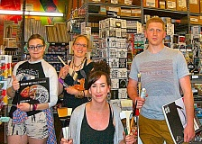 RITA A. LEONARD - The staff at the new Artist & Craftsman Supply in Brooklyn includes, from left: Tracy Somervell, Montana Marshall, Manager Ashley Hoffman, and Andy Matie. All are identified as artists themselves.