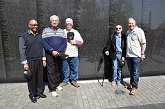 SUBMITTED PHOTO - Myles Thomas, Randy Kusiak (Sylvester), Robert Gervasi (Big Man), Henderson Bullard (HB) and Jim Zwit, all members of the 101st Airborne Divisions Delta Raiders, gather at the Vietnam Memorial Wall in Washington D.C. in April.