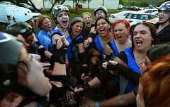 TIMES FILE PHOTO - The Rose City Rollers roller derby team will come to the Beaverton City Library on Sunday to share their