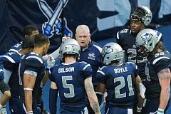 TRIBUNE PHOTO: CHRISTOPHER OERTELL - Portland Steel coach Ron James huddles with some of his team. The Steel will play host to the Orlando Predators at 7 p.m. Saturday at Moda Center.