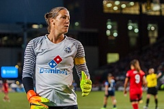 TRIBUNE PHOTO: DIEGO G. DIAZ - Goalkeeper Nicole Barnhart and FC Kansas City became the first team to beat the Portland Thorns this season with their 2-1 victory Saturday night at Providence Park.