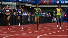 TRIBUNE PHOTO: DAVID BLAIR - The finish of the women's 200-meter final Sunday at Hayward Field. Jenna Prandini (left) took third, and Deajah Stevens (second from right) was second, both qualifying for the U.S. Olympic team.