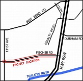 SUBMITTED PHOTO - This map from the Washington County Department of Land Use & Transportation shows where construction will take place on Fischer Road just off Highway 99W.