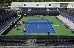 COURTESY BOB WAYT, TUALATIN HILLS PARK & RECREATION DISTRICT - The new stadium at Tualatin Hills Tennis Center - it was constructed around the existing Larry Hardin Stadium Court - seats about 6,000 and will host the Davis Cup quarterfinal event that starts on Friday and continues through Sunday.