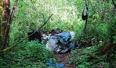 PAMPLIN MEDIA GROUP FILE PHOTO - Homeless camps like this one along the Springwater Trail will be removed after Aug. 1, according to a plan by Portland Mayor Charlie Hales.