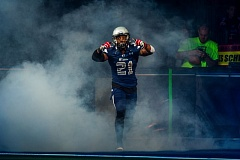 TRIBUNE PHOTO: DIEGO G. DIAZ - Defensive back Shaine Boyle, being introduced before last week's game, has become a weapon on kick returns for the Portland Steel, who play host to the Jacksonville Sharks at 7 p.m. Saturday at Moda Center.