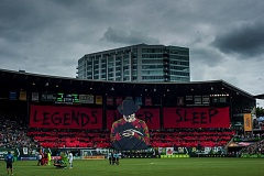 TRIBUNE PHOTO: DIEGO DIAZ - Portland Timbers fans reveal their Legends Never Sleep/Nightmare on Elm Street tifo before the home game with the Seattle Sounders on Sunday July 17 2016.