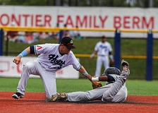 TRIBUNE PHOTO: CHASE ALLGOOD - Hillsboro Hops shortstop Mark Karaviotis tags out Everett AquaSox runner Johmbeyker Morales during Sunday's 1-0 Everett victory at Ron Tonkin Field.