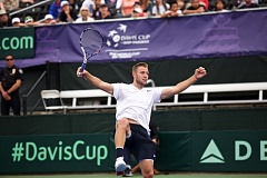 TRIBUNE PHOTO: JAIME VALDEZ - Jack Sock of the United States battles Borna Coric in the final match of the Davis Cup quarterfinals Sunday afternoon at Tualatin Hills Tennis Center.