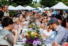 TRAVIS LOOSE - More than 200 people sat down a five course meal in the middle of downtown Hillsboro on Friday for the inaugural Farm to Table dinner.