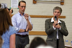 TRIBUNE FILE PHOTO - Superintendent Carole Smith responds to angry parents at a June 1 meeting on lead in drinking water.