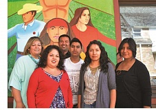 RYAN NAKANO - CAPACES Leadership Institute celebrated its fifth anniversary this weekend. Its staff includes (from left): Executive Director Laura Isiordia, fund development coordinator Inez Peña, program coordinator Abel Valladares, TURNO participant Omar Bonifacio, accountant and administrative assistant Maricela Andrade and TURNO coordinator Juanita Aniceto. TURNO is a youth program at CAPACES that stands for Talento Universitario Regresando a Nuestros Orígenes/University Talent Returning to Our Roots.