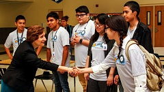 HILLSBORO TRIBUNE PHOTO: TRAVIS LOOSE - Congresswoman Suzanne Bonamici greets the Si, Se Puede! student tutors at Hilhi July 21.