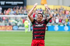 TRIBUNE PHOTO: DIEGO G. DIAZ - Zarek Valentin celebrates his goal for the Portland Timbers in Saturday's 2-1 loss at home to the Los Angeles Galaxy.