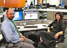 DAVID F. ASHTON  - PBEM Operations Manager David Blitzer and Director Carmen Merlo demonstrate the added capabilities of the upgraded PublicAlerts call system.