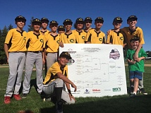 COURTESY: CLEVELAND-SELLWOOD YOUTH BASEBALL - The Cleveland Giants show off the state tournament bracket after their victory in the JBO Junior Federal state tournament on Sunday.