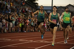 COURTESY: DILLON VIBES  - Colby Alexander (second from right) wins the men's 1,500 meters for Team San Francisco on Friday night at Hayward Field.