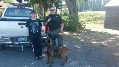 COURTESY PHOTO: MARION COUNTY SHERIFF'S OFFICE - Deputy Jason Bernards and his K9 partner, Rolo, helped locate 14-year-old Austin Davis near the Pudding River Sunday.