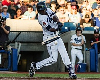 PAMPLIN MEDIA GROUP: CHASE ALLGOOD - Hillsboro Hops second baseman Manny Jefferson's bat shatters as he makes contact with a pitch during Hillsboro's 6-4 loss to the Vancouver Canadians Monday night.