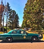 COURTESY MCSO - A sheriff's cruiser blocked the driveway leading to the apparent murder-suicide scene in a rural area near Troutdale Saturday morning.