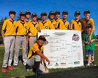 COURTESY OF CLEVELAND-SELLWOOD YOUTH BASEBALL - The Cleveland-Sellwood Giants show off the state tournament bracket after their victory in the JBO Junior Federal State Tournament in Sherwood.