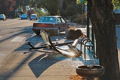 DAVID F. ASHTON - This TriMet bus shelter was all but destroyed by an impaired driver, but two pedestrians waiting near it on S.E. 41st managed to escape serious injury - and, we see, the Benson Bubbler drinking fountain nearby appears to have just missed the mayhem.
