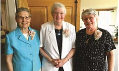 COURTESY PHOTO - (From left) Sisters Theresa Henscheid, Joseph Fennimore and Maureen Niedermeyer celebrated in July 60 years since taking their monastic vows.