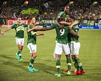 TRIBUNE PHOTO: DIEGO G. DIAZ - The Portland Timbers celebrate as they defeat Real Salt Lake, 1-0.