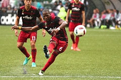 TRIBUNE PHOTO: JAIME VALDEZ - Darlington Nagbe of the Portland Timbers fires a shot at goal against the Philadelphia Union.