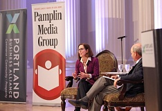 PAMPLIN MEDIA GROUP: JAIME VALDEZ - Gov. Kate Brown responds to questions at Wednesday's Portland Business Alliance meeting. Brown told the group that her decision to endorse the corporate tax measure was extremely difficult for her.