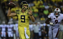 COURTESY: GODOFREDO VASQUEZ - Dakota Prukop has been arguably as effective rushing as passing for the Oregon Ducks. He is the team's third-leading ground gainer.