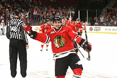 COURTESY: DAYNA FJORD/PORTLAND WINTERHAWKS - Skyler McKenzie celebrates his goal on Sunday night as the Portland Winterhawks defeat the Tri-City Americans, 7-3.
