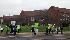 Community members rally to save Concord Elementary School.