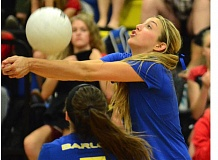 THE OUTLOOK: DAVID BALL - Barlows Demi Winters bumps a ball near the 10-foot line during the Bruins four-set loss to Clackamas on Tuesday.