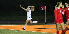 TIMES PHOTO: MILES VANCE - Beaverton's Macey Lane celebrates her second goal during her team's 4-2 win over Westview at Beaverton High School on Thursday night. TIMES PHOTO: MILES VANCE