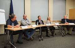 OUTLOOK PHOTO: JOSH KULLA - Five candidates for city council in Troutdale and Fairview prepare for the West Columbia Gorge Chamber of Commerce's candidates' forum on Monday, Oct. 3, 2016.