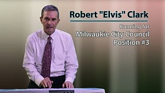 PHOTO COURTESY: WILLAMETTE FALLS MEDIA CENTER - Robert 'Elvis' Clark sings his campaign song in the PSA released for his November election race.