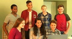 SCREENSHOT COURTESY: ESTHER WARKOV - In a scene from the film, young actors gather around a computer to video-interview an expert on Title IX protections.
