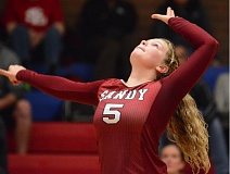 SANDY POST: DAVID BALL - Sandys Brooke Dodge gets ready to swing away on an attack out of the front row during last weeks four-set loss at La Salle Prep.