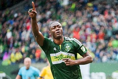 TRIBUNE PHOTO: DIEGO G. DIAZ - Fanendo Adi's penalty kick goal lifted the Portland Timbers to a 1-0 victory over the Colorado Rapids on Sunday at Providence Park.